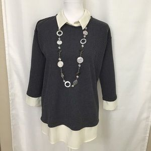 Ann Taylor Layered Collared Blouse Navy Cream S